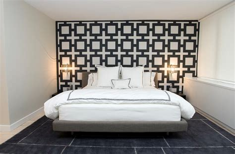 black and white wallpaper bedroom design chain link wallpaper contemporary bedroom haus interior