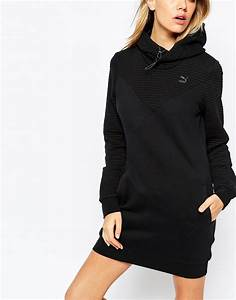 lyst puma quilted hooded sweatshirt dress in black With robe pull nike
