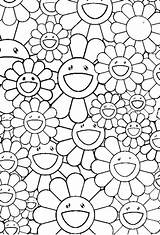 Coloring Coloriage Flowers Murakami Takashi Fleurs Dessin Coloriages Bloemen Adultes Adult Stress Anti Kleurplaten Adulte Volwassenen Voor Flower Adults Colorir sketch template