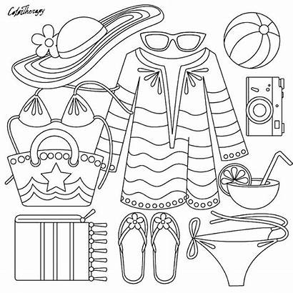 Coloring Pages Summer Clothes Printable Drawings Clothing