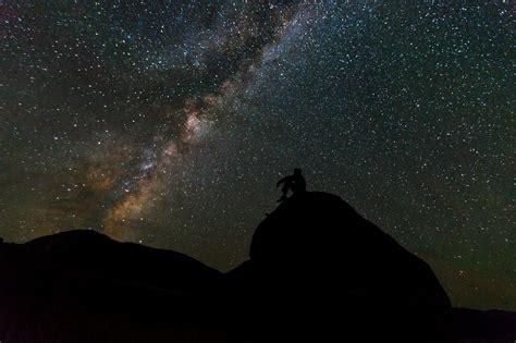 Image libre: ciel, personne, nuit, silhouette, voie lactée
