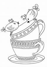 Coloring Teapot Decorative Tea Printable Adults Cups Softball Outline sketch template