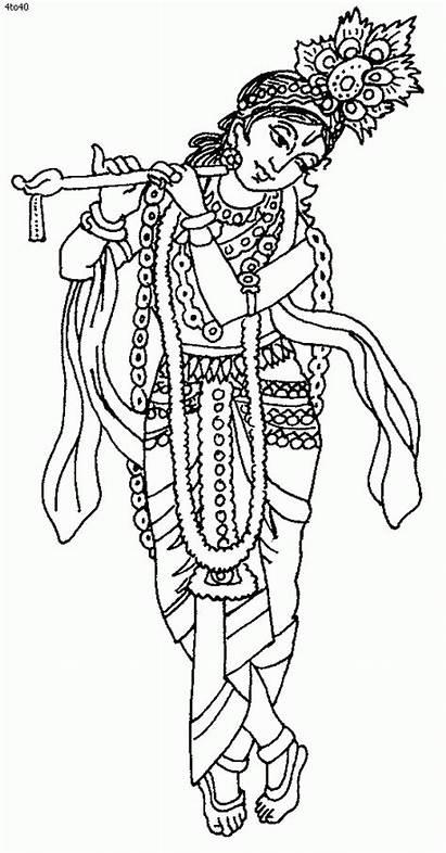 Coloring Pages Krishna Lord Janmashtami Drawing Clipart