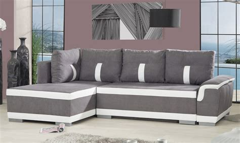 canape bicolore design canapé d 39 angle convertible en lit groupon shopping