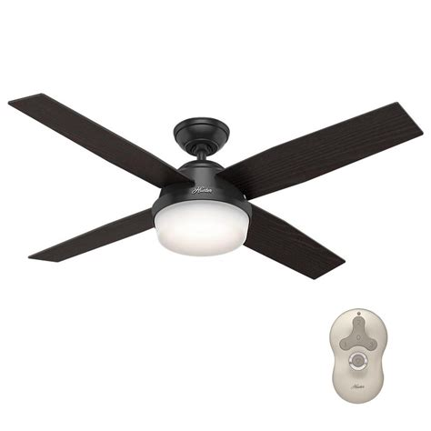 black ceiling fan with light hunter dempsey 52 in led indoor outdoor matte black