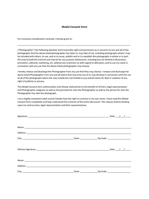 model consent form fillable printable  forms