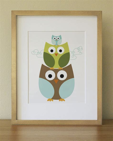 lulliloola stacking owl baby nursery wall art