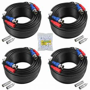 Annke 4x 100ft Black Video Power Cable Bnc Rca Wire For