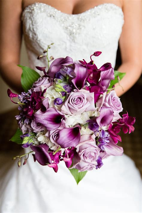wedding flowers purple wedding bouquet purple calla lily