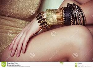 Beautiful Bijouterie Bangles On Hand. Stock Photo - Image ...
