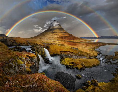 Rainbow Over Kirkjufell Kirkjufell Mountain Iceland