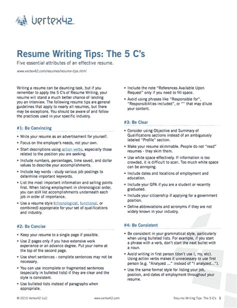 Tips On The Resume by Free Resume Writing Tips
