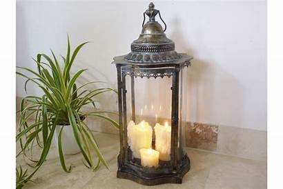 Candle Lantern Bronze Metal 70cm