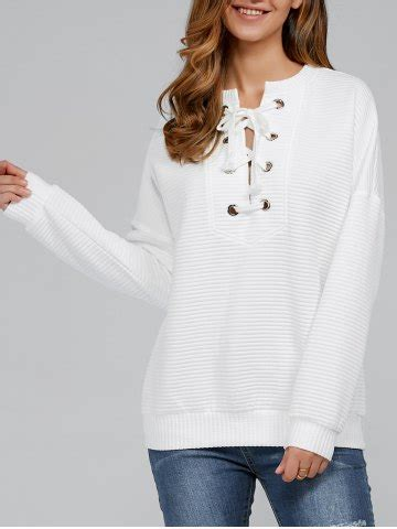 lace  ribbed sweatshirt  white  rosegalcom