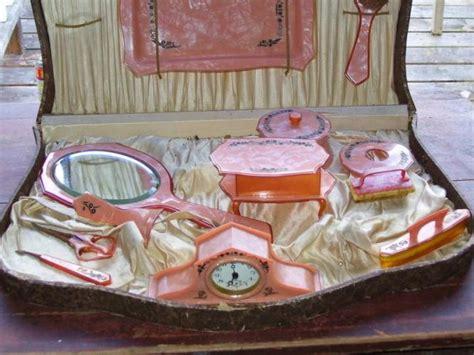 antique pyralin vanity dresser set vintage chic
