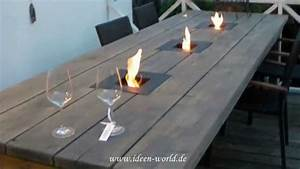 ideen world gartentisch youtube With feuerstelle garten mit schmaler tisch balkon
