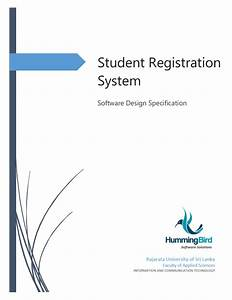 Example for sds document in software engineering for Student registration system documentation