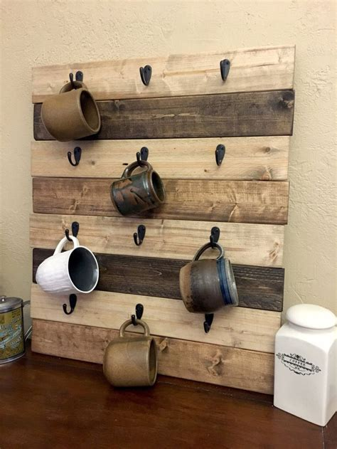 As you can see from the photos above, there are a number of ways that you can display your coffee mug hanger. Coffee Cup Holder Coffee Mug Rack Coffee Decor Kitchen Rustic Farmhouse Coffee Decor Wood Mug ...