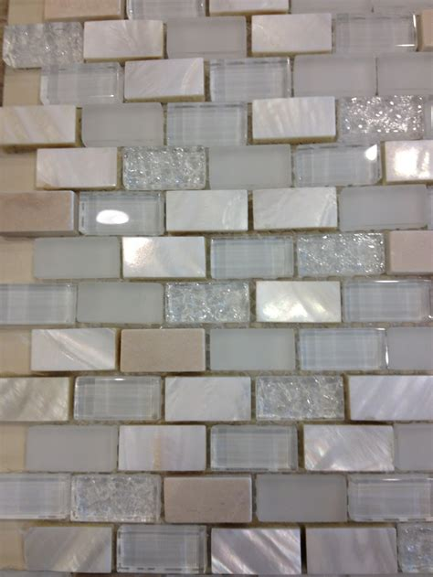 tumbled travertine mother  pearl  glass tile