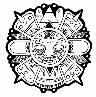 Aztec Sun Azteca Inca Symbols Drawing Mayan