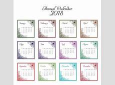 Calendario 2018 con diseño decoratiov Descargar Vectores