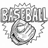 Baseball Coloring Sports Pages Glove Sketch Doodle Mitt Drawing Sheets Vector Ball Softball Illustration Format Colouring Sport Adult Sliding Kid sketch template