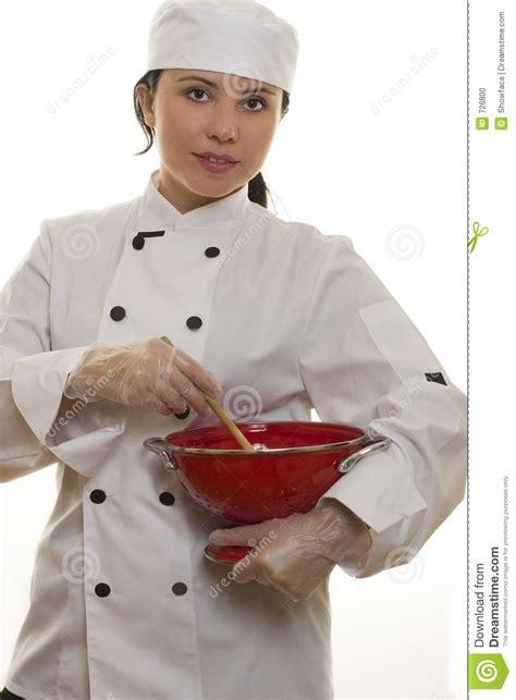 chef cuisine femme chef avec des ustensiles de cuisine photo stock image 726800