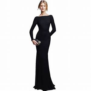 Cheap party dresses : Black Long Sleeve Floor Length Gown ...