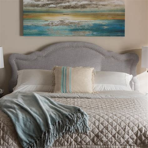 Fabric Headboard by Baxton Studio Avery Greyish Beige Fabric Upholstered