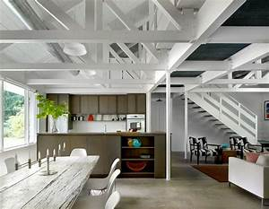 Exposed roof design kitchen industrial with white rafters