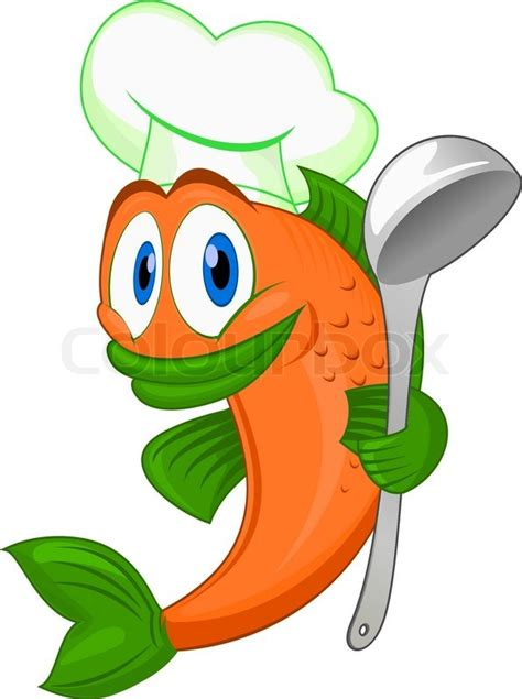 cartoon cook fish  dishware  stock vector
