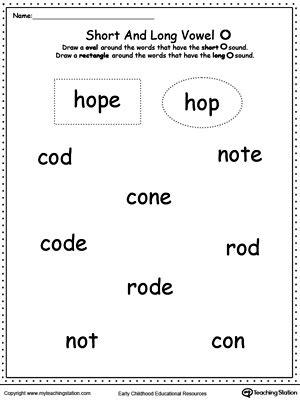Vowels Short Or Long O Sound Words Myteachingstationcom