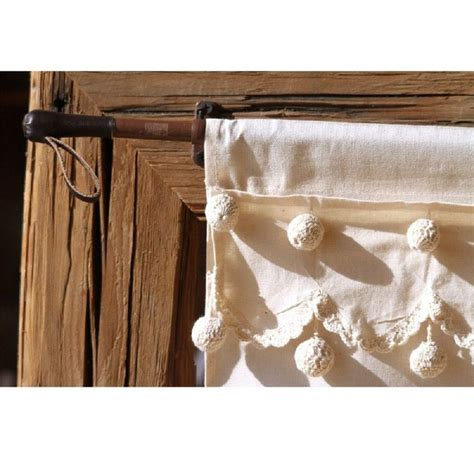 rideau brise bise coton naturel droit 3 rang 233 es de pompons gm
