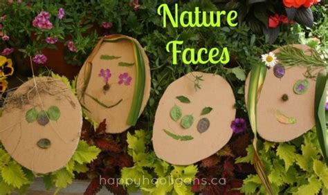 toddler with items found in nature happy hooligans 874 | nature faces