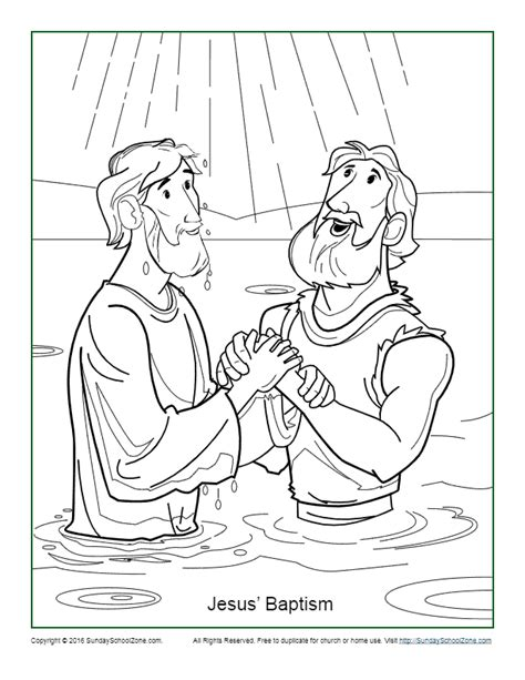 jesus baptism coloring page childrens bible activities