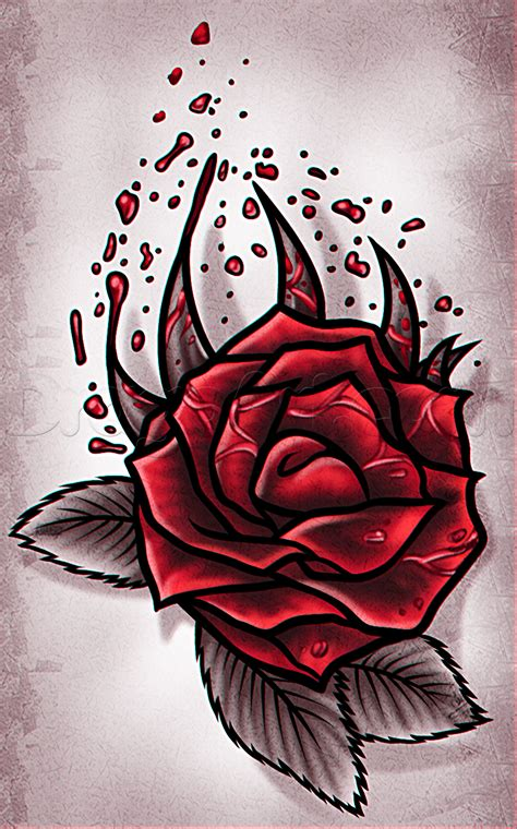 draw  rose tattoo design step  step tattoos