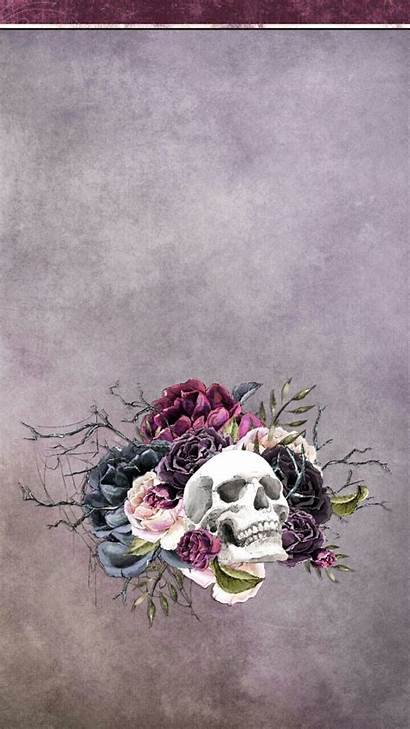 Witchy Iphone Skull Sugar Backgrounds Halloween Flower