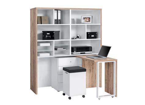 bureau modulable bureau modulable contemporain avec rangement chêne blanc