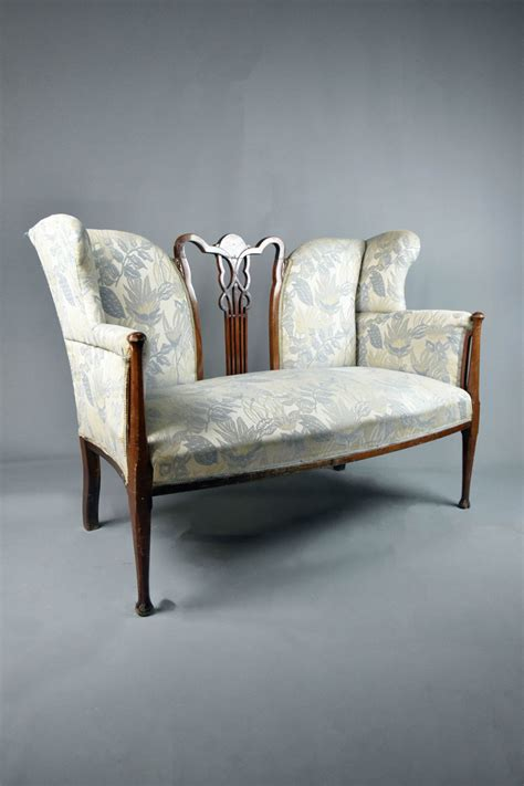 High Backed Settee by 2 Seater High Backed Winged A N Settee Blue Green Floral