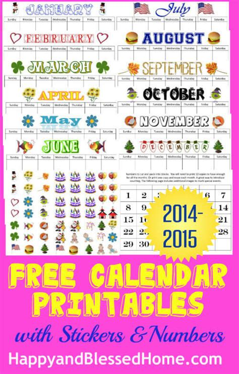 free calendar stickers and free tracing calendar 879 | 2014 2015 free calendar printables with stickers and numbers 1