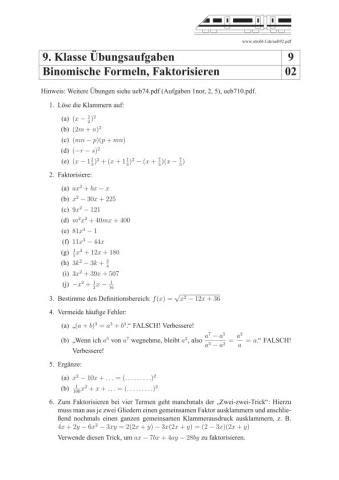 binomische formeln und faktorisieren uebungen und aufgaben