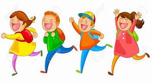 Kids Running To School Clipart - ClipartXtras