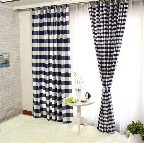 navy buffalo check curtains lined cotton navy black and white buffalo check curtains