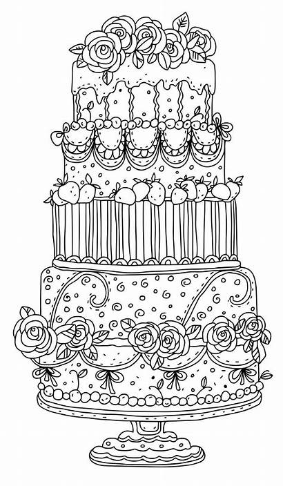 Coloring Pages Adult Cake Colouring Detailed Cakes