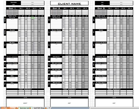 workout templates for personal trainers excel personal templates excel designs