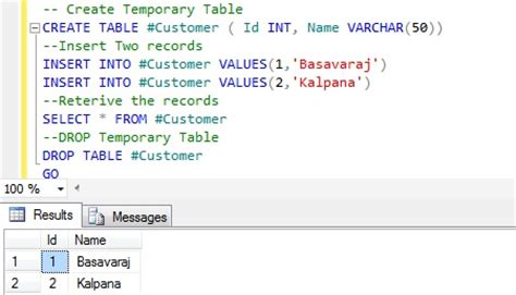 sql server temporal table comparative analysis of temporary table and table variable