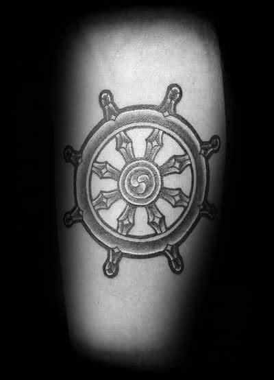40 Dharma Wheel Tattoo Designs For Men - Dharmachakra Ink