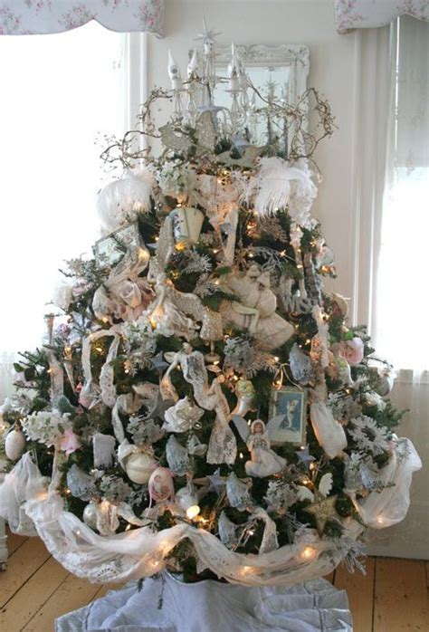 shabby chic christmas trees images  pinterest