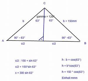Höhe Berechnen : gleichschenkliges dreieck trigonometrie b 150mm gamma 126 grad mathelounge ~ Themetempest.com Abrechnung