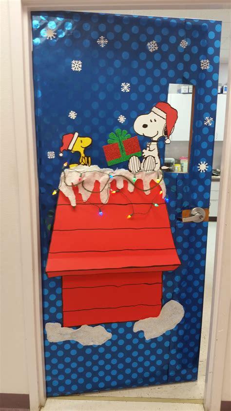 christmas school door decorating ideas snoopy and woodstock door door decorations